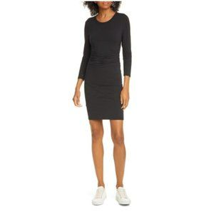 ATM Pima Cotton Ruched Stretch Black Bodycon Dress